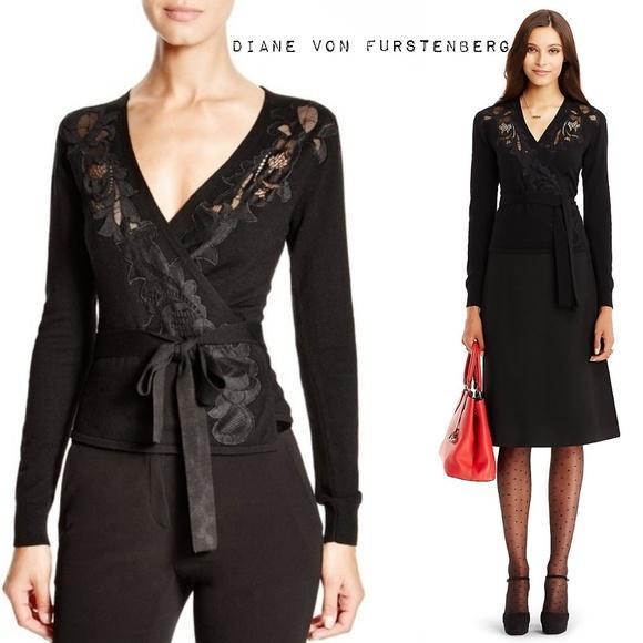 Diane Von Furstenberg Ballerina Lace Wrap Sweater